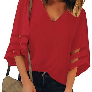 Tops - Red V neck Blouse